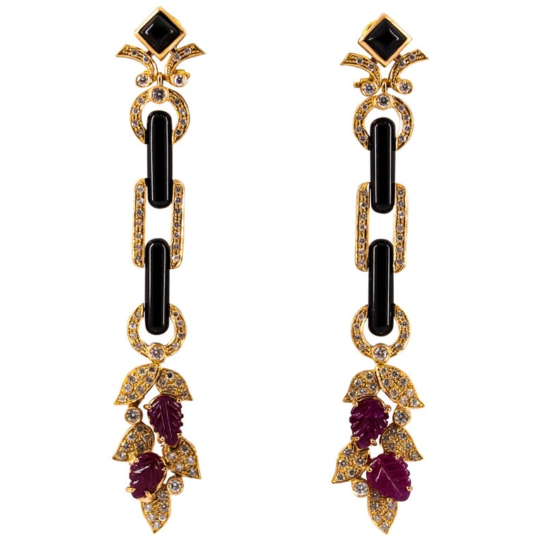4.80 Carat Ruby 1.76 Carat White Diamond Onyx Yellow Gold Clip-On Drop Earrings For Sale