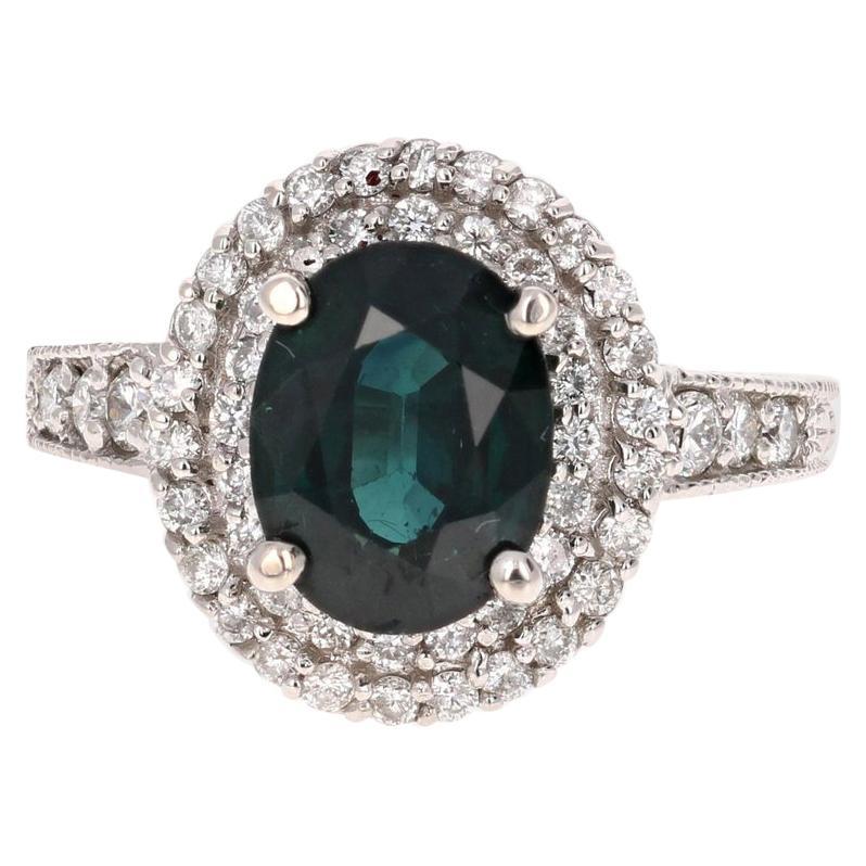 4.80 Carat Sapphire Diamond Double Halo 14k White Gold Engagement Ring