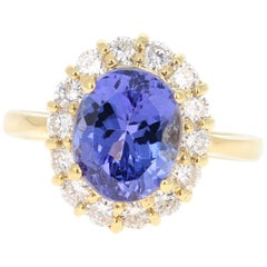 4.80 Carat Tanzanite Diamond 18 Karat Yellow Gold Cocktail Ring