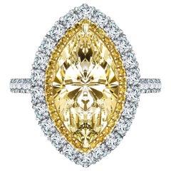 4.80 Carat Yellow Marquise White Diamond Platinum Double Halo Engagement Ring