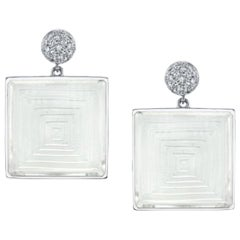 48.00 ct. t.w. Rock Crystal Pyramid & Diamond 18k White Gold Dangle Earrings
