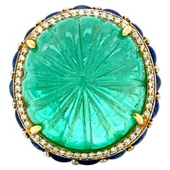48.07 Carat GRS Certified Colombian Carved Emerald and Diamond Cocktail Ring