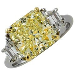 4.09 Carat GIA Graded Fancy Yellow Diamond Engagement Ring