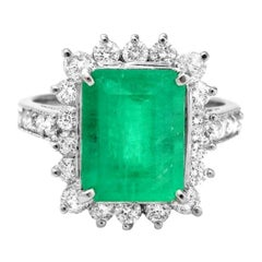 4.80ct Natural Emerald & Diamond 14k Solid White Gold Ring