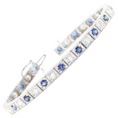 4.80Ct Natural Sapphire and Diamond 14 Karat Solid White Gold Bracelet