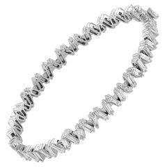 4.81 Carat Baguette Diamond 18 Karat Gold Bangle Bracelet