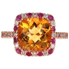 4.81 Carat Cushion Cut Citrine, Pink Sapphire and Diamond Rose Gold Bridal Ring