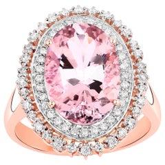 4.81 Carat Morganite and Diamond 14 Karat Rose Gold Cocktail Ring