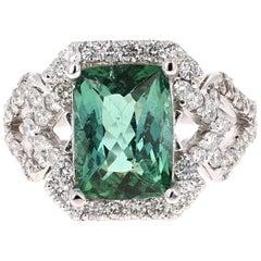 4.81 Carat Tourmaline Diamond 14 Karat White Gold Ring