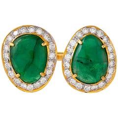 4.81 Carat Emerald Diamond 18 Karat Yellow Gold Open Band Ring