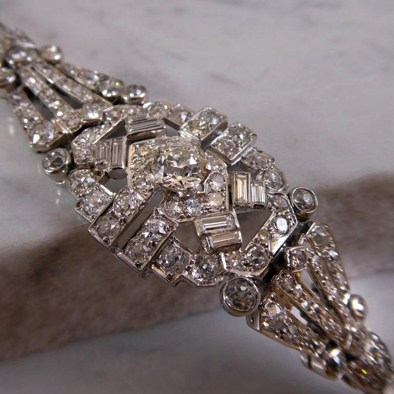 4.82 Carat Art Deco Diamond Bracelet, White Gold, circa 1930 For Sale 1