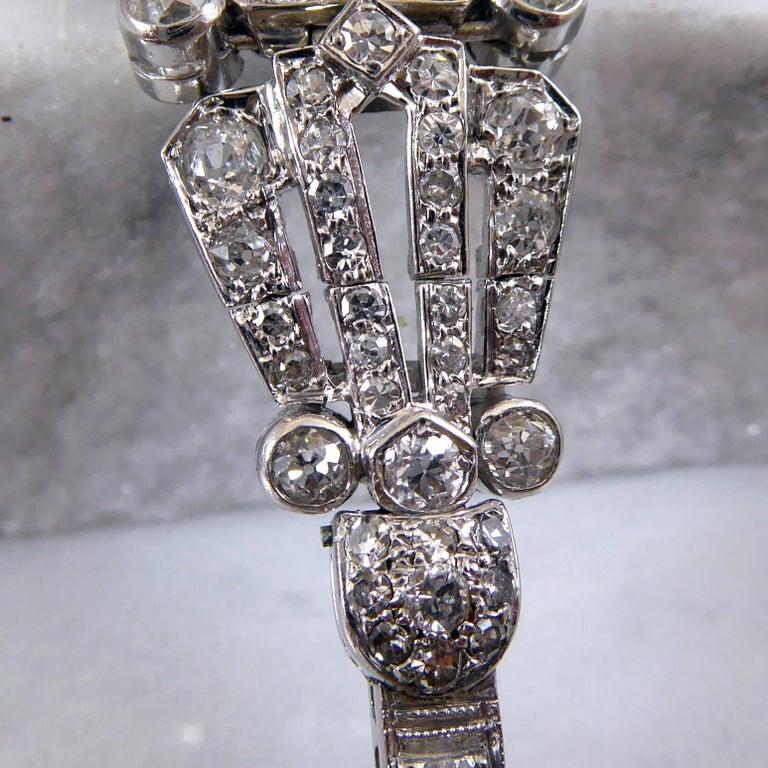 4.82 Carat Art Deco Diamond Bracelet, White Gold, circa 1930 For Sale 2
