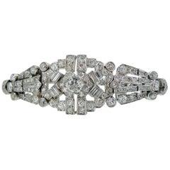 4.82 Carat Art Deco Diamond Bracelet, White Gold, circa 1930