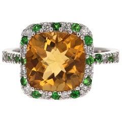 4.82 Carat Cushion Cut Citrine Quartz Tsavorite Diamond 14 Karat White Gold Ring