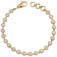 Handcrafted Arielle European Cut Diamond Bracelet by Single Stone