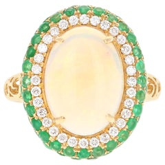 4.82 Carat Opal, Emerald and Diamond 18 Karat Yellow Gold Ring