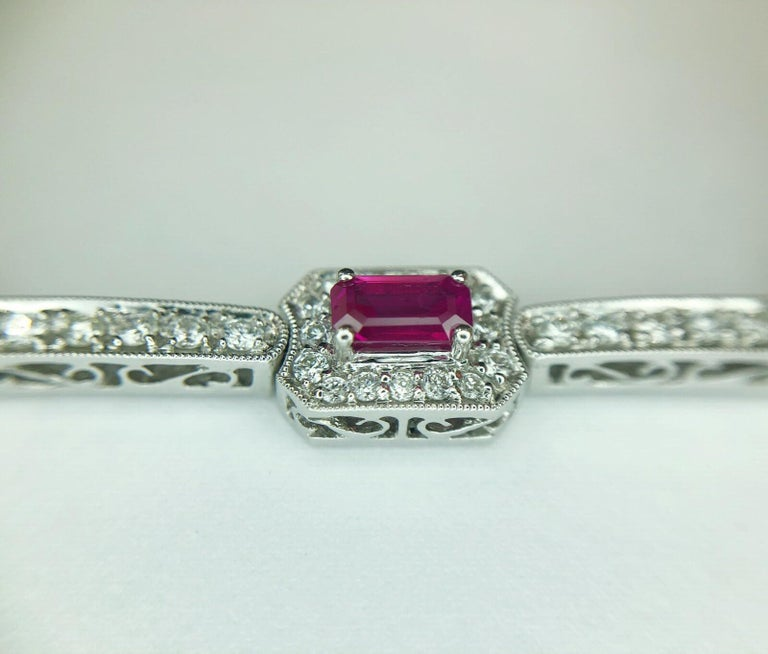 4.82 Carat Total Weight Emerald Cut Rubies Bracelet with 2.21 Carat Diamonds For Sale 2