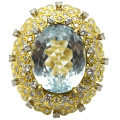 48.20 Carat Aquamarine and Diamond 18 Karat Yellow Gold Cocktail Ring
