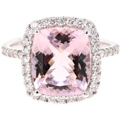 4.83 Carat Cushion Cut Pink Morganite Diamond White Gold Engagement Ring