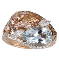 4.83 Carat Total Morganite and Aquamarine Ring with Diamonds in 18K Rose Gold