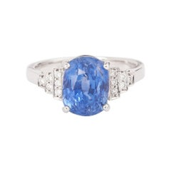 4.83 Carats Unhated Ceylon Sapphire Diamonds 18 Carats White Gold Ring