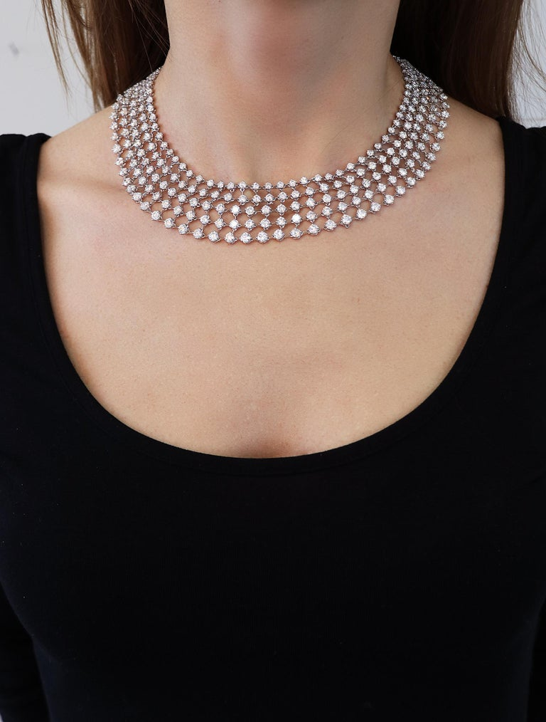 Women's 48.31 Carat White GVS Diamonds 18 Karat White Gold 5 Rows Tennis Necklace For Sale