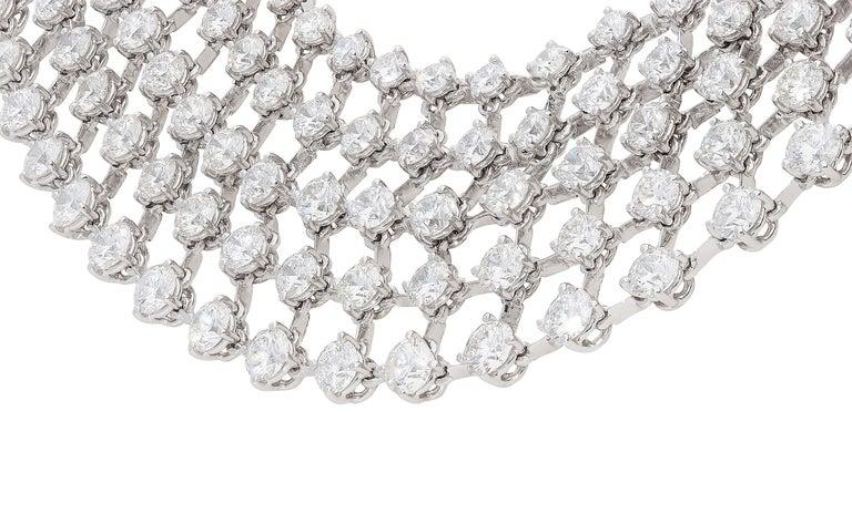 Contemporary 48.31 Carat White GVS Diamonds 18 Karat White Gold 5 Rows Tennis Necklace For Sale