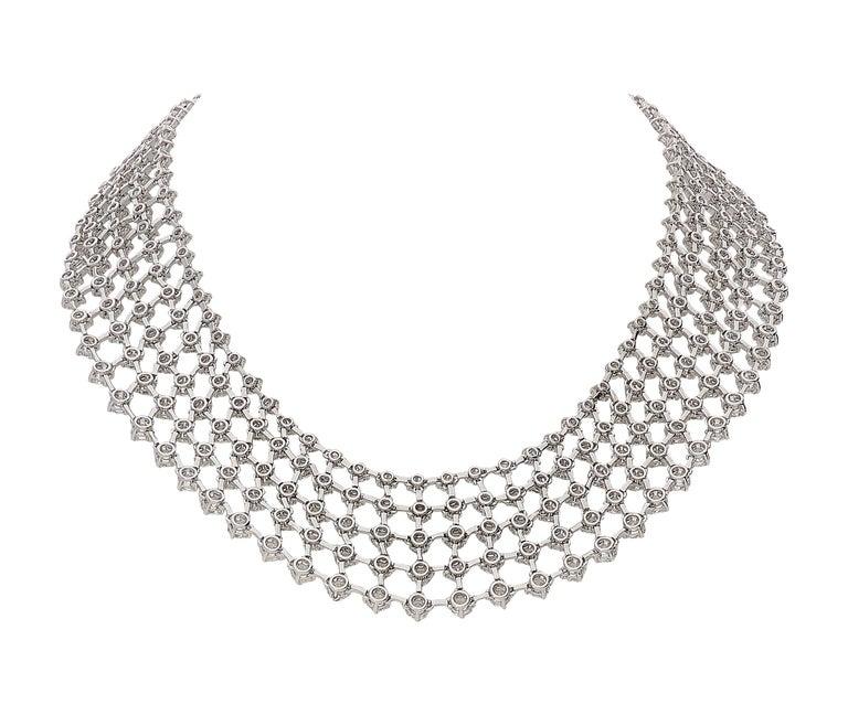 Round Cut 48.31 Carat White GVS Diamonds 18 Karat White Gold 5 Rows Tennis Necklace For Sale