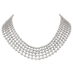 48.31 Carat White GVS Diamonds 18 Karat White Gold 5 Rows Tennis Necklace