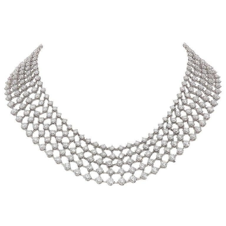 48.31 Carat White GVS Diamonds 18 Karat White Gold 5 Rows Tennis Necklace For Sale