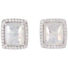 Natural Slice Diamond 18 Karat Gold Square Stud Earrings