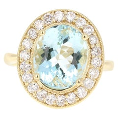4.84 Carat Aquamarine Diamond 18 Karat Yellow Gold Ring