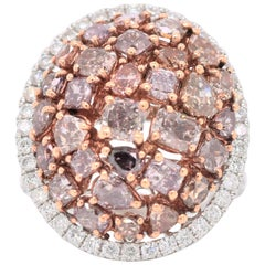 4.84 Carat Mixed Shaped Natural Pink Diamond Cluster Fashion Ring