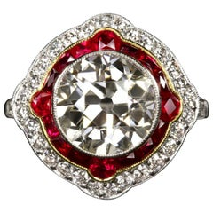 4.84 Carat Old European Cut Diamond Engagement Ring Ruby Platinum Art Deco