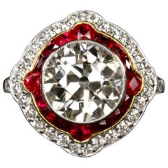 4.84 Carat Old European Cut Diamond Engagement Ring Ruby Platinum Ring