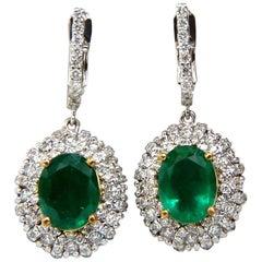 4.84ct Natural Vibrant Green Emerald Diamond Cluster Earrings Dangle 14K