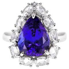 4.85 Carat Breezy Blue Tanzanite Diamond Classical Wedding Ring