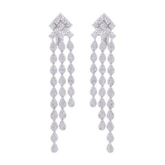 4.85 Carat Diamond 18 Karat White Gold Chandelier Earrings