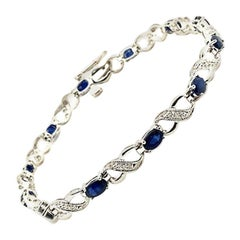 4.85 Carat Diamond and Sapphire Bracelet G SI 14 Karat White Gold