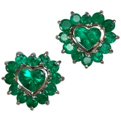 4.85 Carat Emerald Heart Shape 18 Karat White Gold Earrings
