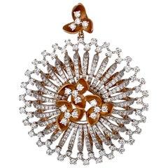 4.85 Carat Ladies Diamond Yellow and White Gold Pendant