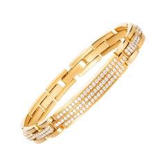 4.85 Carat Round Brilliant Cut Diamond 18 Karat Yellow Gold Link Bracelet