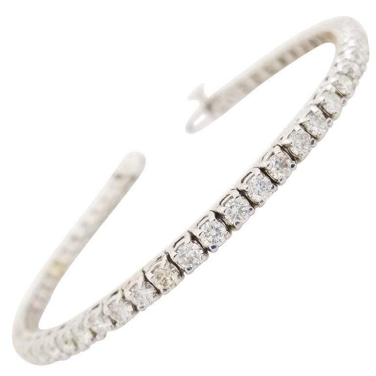 4.85 Carat Round Brilliant Cut Diamond Tennis Bracelet 14 Karat White Gold For Sale