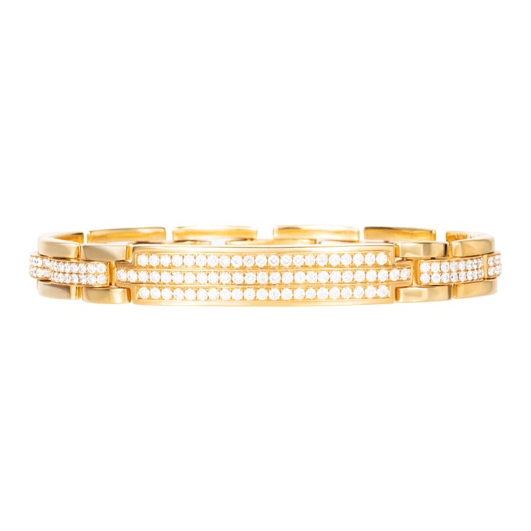 Sparkling round diamond link bracelet with 4.85 carats of brilliant cut round diamonds set in 18-karat yellow gold.  Great for stacking with other bracelets.  Length: 8 inches.  Composition: 18K Yellow Gold 245 Round Diamonds: 4.85 carats Diamond