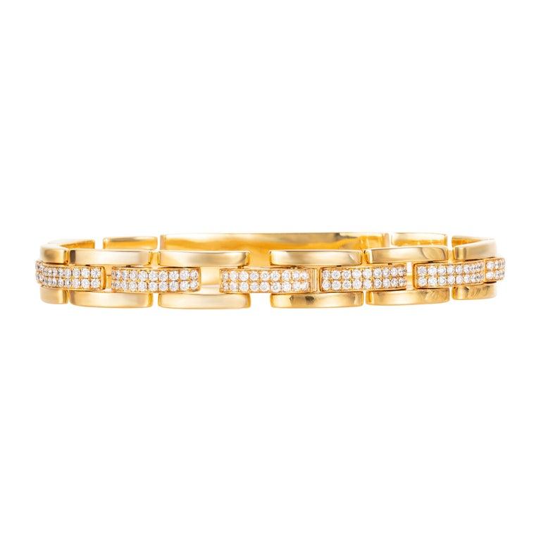 Contemporary 4.85 Carat Round Diamond 18 Karat Yellow Gold Link Bracelet For Sale