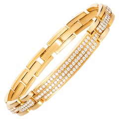 4.85 Carat Round Diamond 18 Karat Yellow Gold Link Bracelet