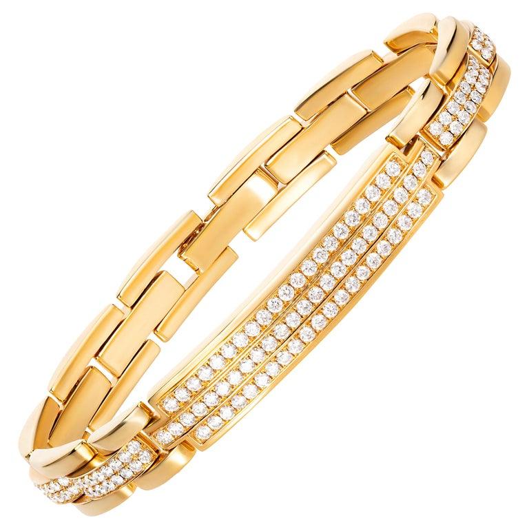 4.85 Carat Round Diamond 18 Karat Yellow Gold Link Bracelet For Sale