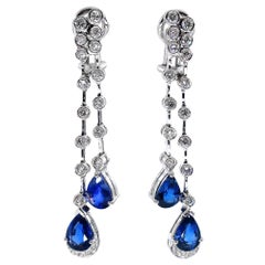 4.85ct Round Diamond and Pear Blue Sapphire Drop Dangling White Gold Earrings