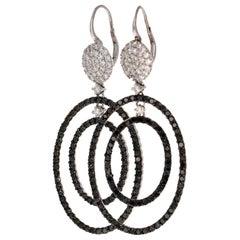 4.86 Carat Black Diamond 14 Karat White Gold Dangle Earrings