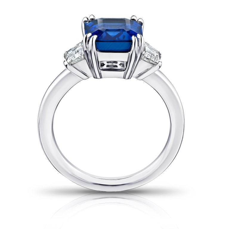 Contemporary 4.86 Carat Emerald Cut Blue Sapphire and Diamond Ring For Sale